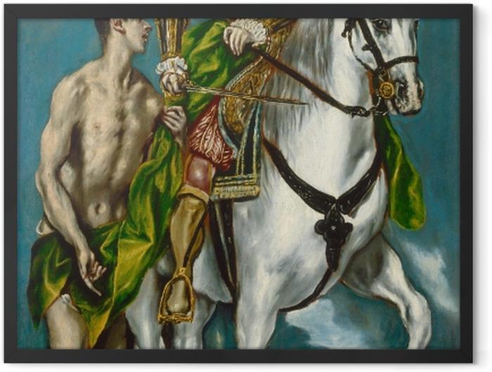 Gerahmtes Poster El Greco - Der heilige Martin und der Bettler - Reproduktion