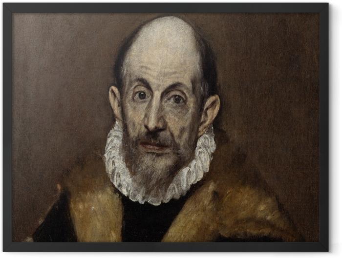 Gerahmtes Poster El Greco - Porträt eines älteren Mannes - Reproduktion