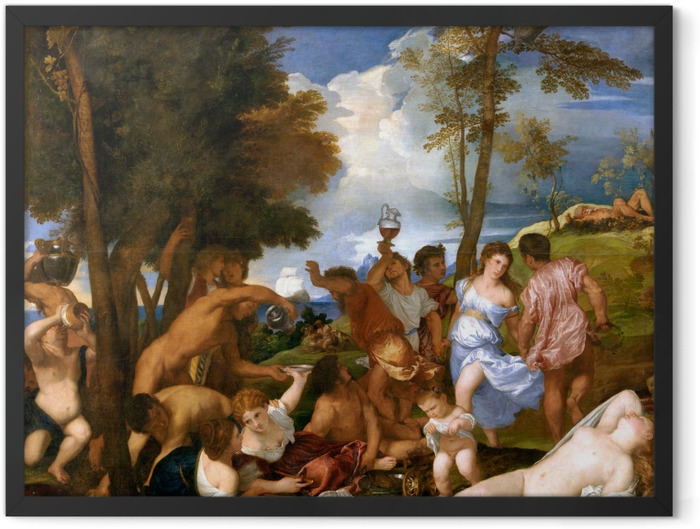 Poster en cadre Titien - Arrivée de Bacchus sur l'île d'Andros - Reproductions