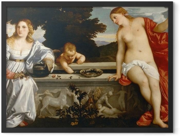 Gerahmtes Poster Tizian - Himmlische und irdische Liebe - Reproduktion