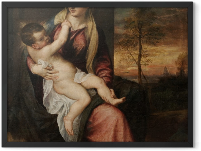 Plakat w ramie Tycjan - Madonna z Dzieciątkiem w wieczornym krajobrazie - Reprodukcje