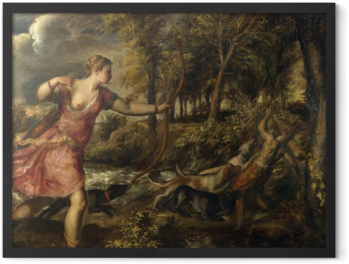 Gerahmtes Poster Tizian - Tod des Actaeon - Reproduktion