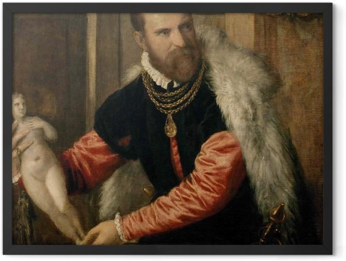 Gerahmtes Poster Tizian - Bildnis Jacopo de Strada - Reproduktion