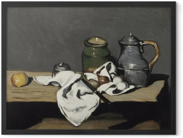 Gerahmtes Poster Paul Cézanne - Stillleben mit grünem Gefäß und Zinnkanne - Reproduktion