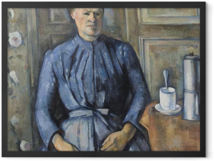 Gerahmtes Poster Paul Cézanne - Die Frau mit Kaffeekanne - Reproduktion