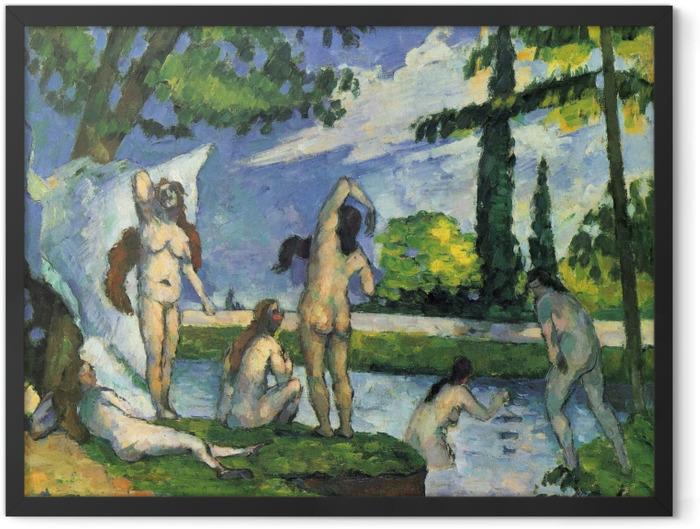 Gerahmtes Poster Paul Cézanne - Badende. Studie - Reproduktion