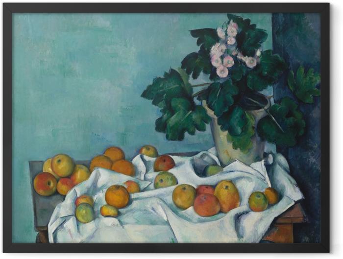 Gerahmtes Poster Paul Cézanne - Obst auf einem Tuch - Reproduktion