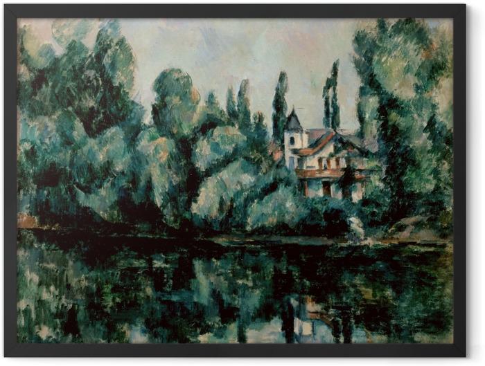 Gerahmtes Poster Paul Cézanne - Ufer der Marne (Villa am Flussufer) - Reproduktion