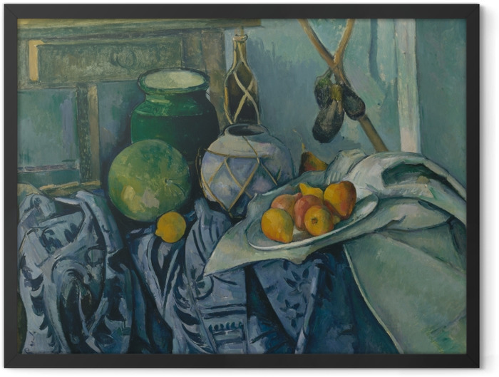 Plakat w ramie Paul Cézanne - Martwa natura z bakłażanami i dzbanem - Reprodukcje