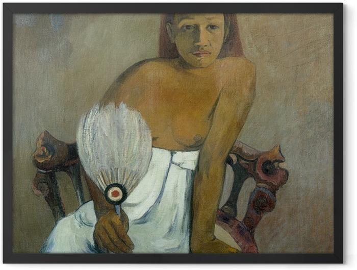 Gerahmtes Poster Paul Gauguin - Frau mit Fächer - Reproduktion