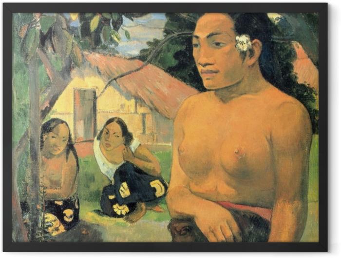 Gerahmtes Poster Paul Gauguin - E haere oe i hia? (Wohin gehst du?) - Reproduktion