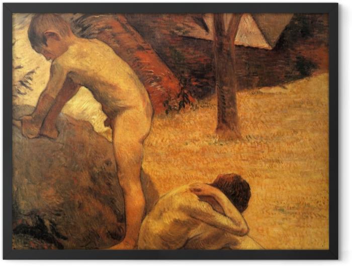 Poster en cadre Paul Gauguin - Jeunes Baigneurs bretons - Reproductions