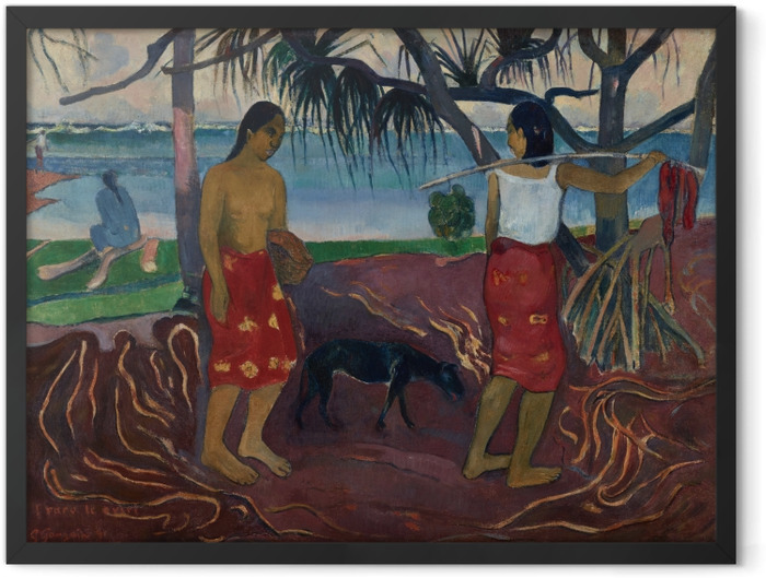 Poster en cadre Paul Gauguin - I Raro te Oviri (Sous le Pandanus) - Reproductions