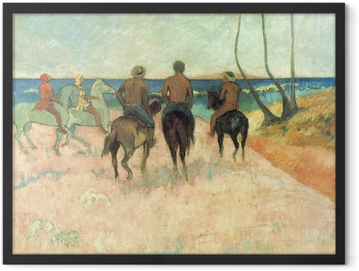 Poster en cadre Paul Gauguin - Cavaliers sur la plage - Reproductions