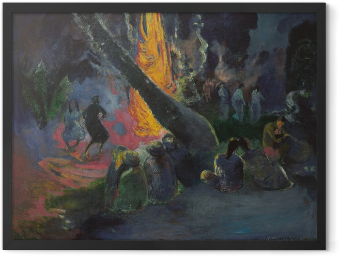 Plakat w ramie Paul Gauguin - Upa upa (Taniec ognia) - Reprodukcje