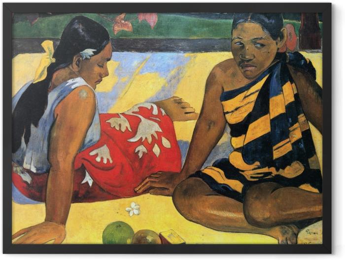 Gerahmtes Poster Paul Gauguin - Zwei Frauen von Tahiti - Reproduktion