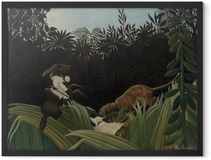 Gerahmtes Poster Henri Rousseau - Kundschafter von einem Tiger angegriffen - Reproduktion