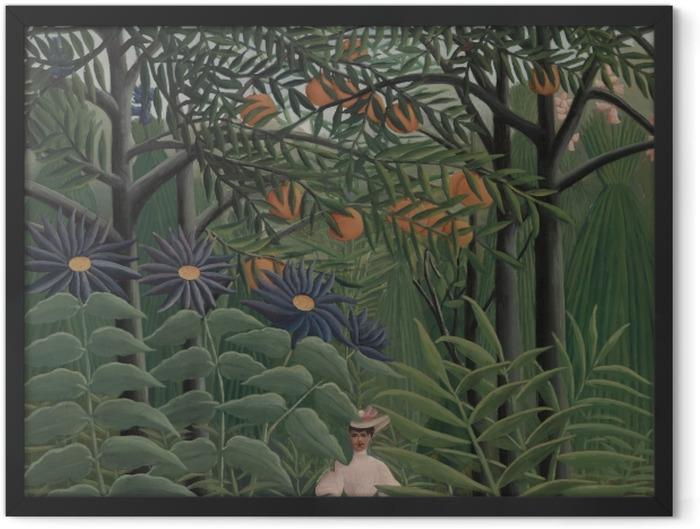 Plakat w ramie Henri Rousseau - Kobieta spacerująca po egzotycznym lesie - Reprodukcje