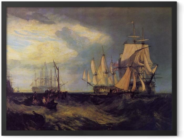 Poster en cadre William Turner - L'équipage du bateau Spithead récupérant une ancre - Reproductions