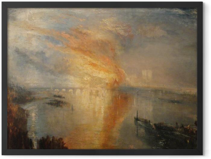 Gerahmtes Poster William Turner - Der Brand des Parlamentsgebäudes in London - Reproduktion