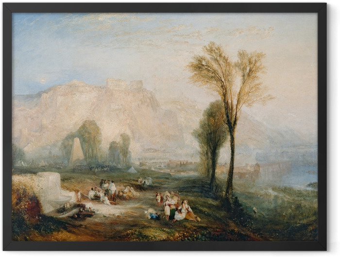Gerahmtes Poster William Turner - Ehrenbreitstein und Gruft von Marceau nach Byrons 'Childe Harold' - Reproduktion