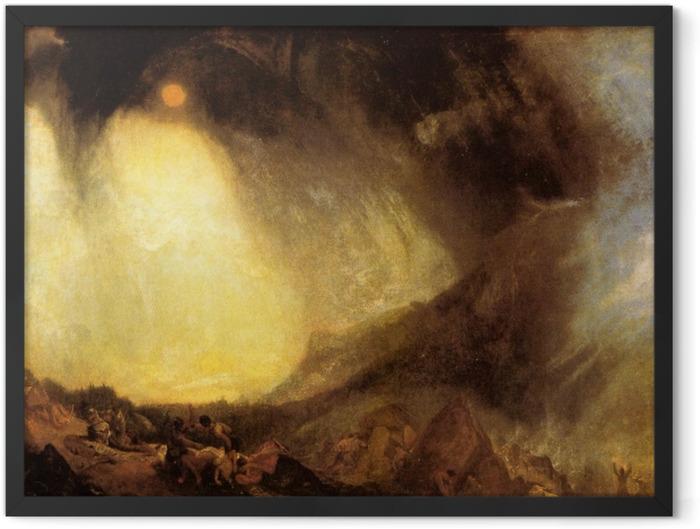 Gerahmtes Poster William Turner - Schneesturm: Hannibal überquert mit seinem Heer die Alpen - Reproduktion