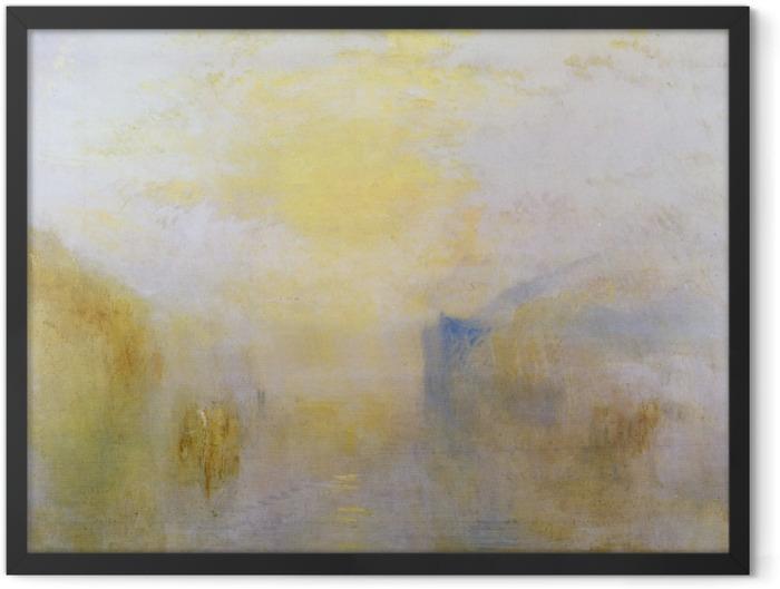 Poster en cadre William Turner - Lever de soleil avec un bateau entre bouts de terre - Reproductions