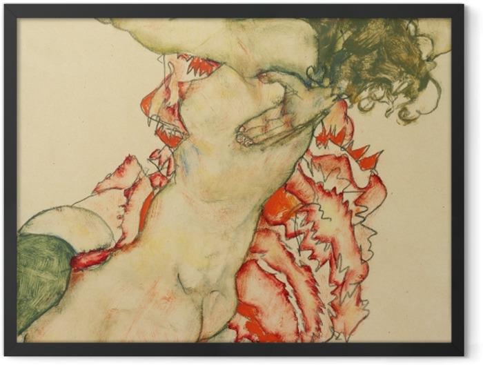 Gerahmtes Poster Egon Schiele - Zwei Freundinnen - Reproduktion