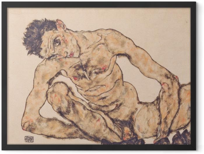 Gerahmtes Poster Egon Schiele - Aktselbstbildnis - Reproduktion
