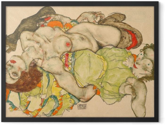Gerahmtes Poster Egon Schiele - Weibliches Liebespaar - Reproduktion