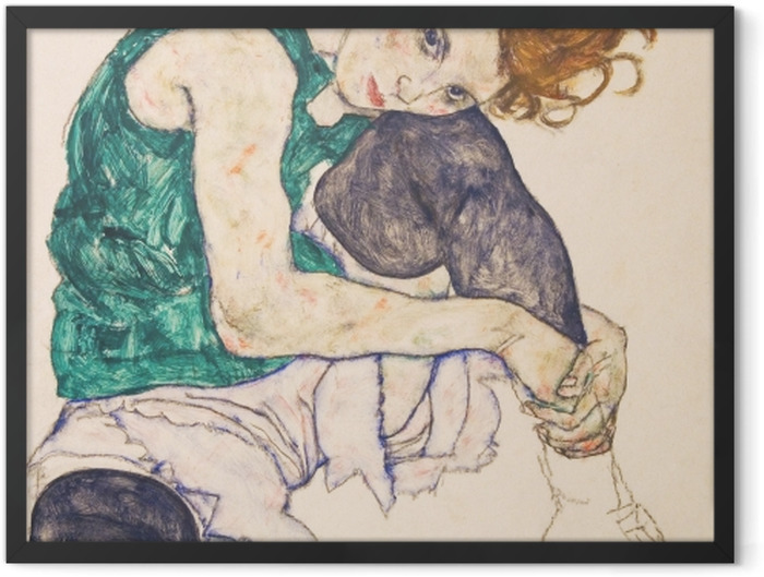 Plakat w ramie Egon Schiele - Siedząca kobieta ze zgiętym kolanem - Reprodukcje