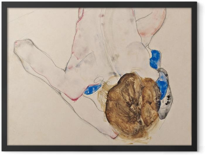 Gerahmtes Poster Egon Schiele - Nach vorne gebeugter Akt mit blauen Strümpfen - Reproduktion