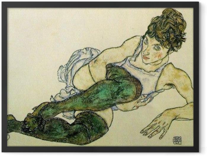 Gerahmtes Poster Egon Schiele - Frau mit grünen Strümpfen - Reproduktion