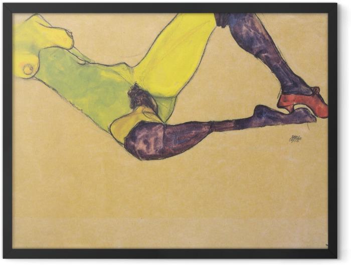 Gerahmtes Poster Egon Schiele - Liegender weiblicher Akttorso (Weiblicher Akt mit violetten Strümpfen) - Reproduktion