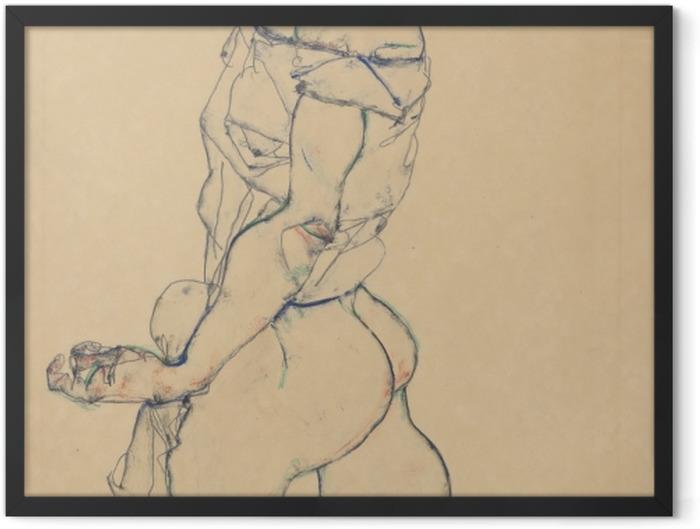Gerahmtes Poster Egon Schiele - Nach links schreitender Frauenakt - Reproduktion