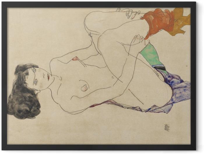 Gerahmtes Poster Egon Schiele - Liegender Akt - Reproduktion