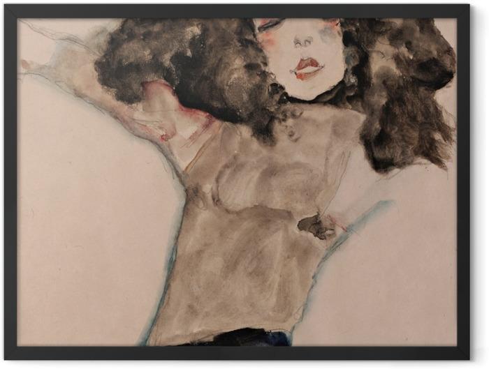 Poster en cadre Egon Schiele - Fille aux cheveux noir - Reproductions