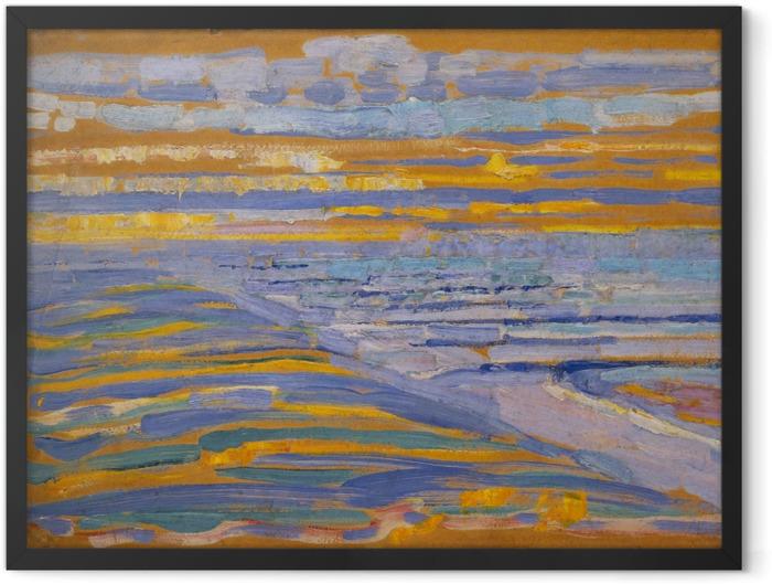 Poster en cadre Piet Mondrian - Vue Depuis Les Dunes Avec La Plage Et La Jetée - Reproductions