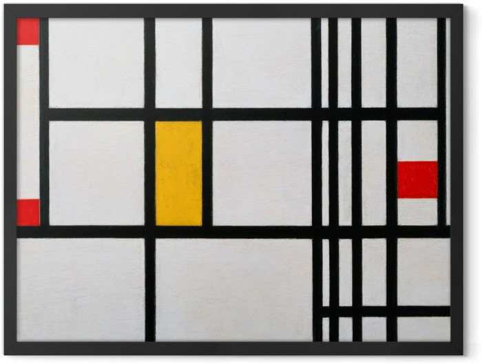 Plakat w ramie Piet Mondrian - Kompozycja w czerwieni, błękicie i żółcieni - Reprodukcje
