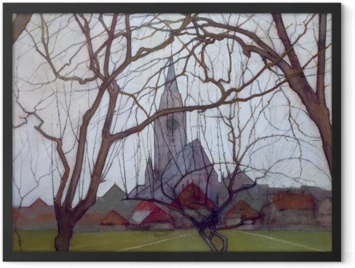 Plakat w ramie Piet Mondrian - Wiejski kościół - Reprodukcje
