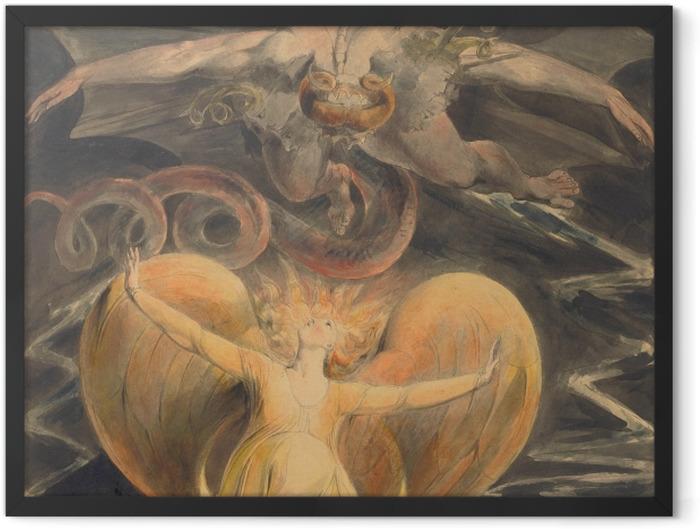 Gerahmtes Poster William Blake - Der große rote Drache und die Frau, mit der Sonne bekleidet - Reproduktion