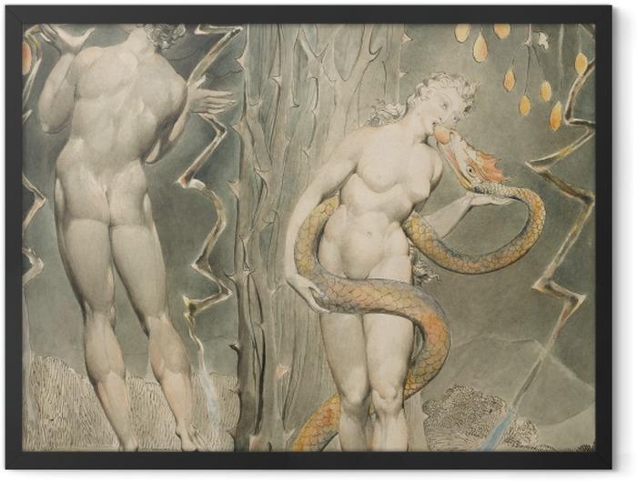 Gerahmtes Poster William Blake - Evas Versuchung und Sündenfall - Reproduktion