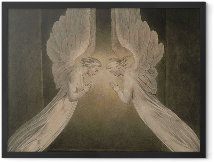 Gerahmtes Poster William Blake - Christus im Grab, von Engeln bewacht - Reproduktion