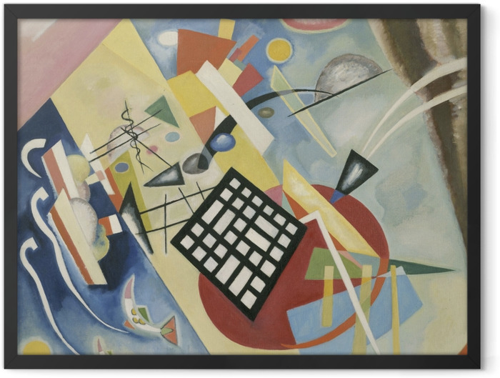 Gerahmtes Poster Wassily Kandinsky - Schwarzer Raster - Reproduktion