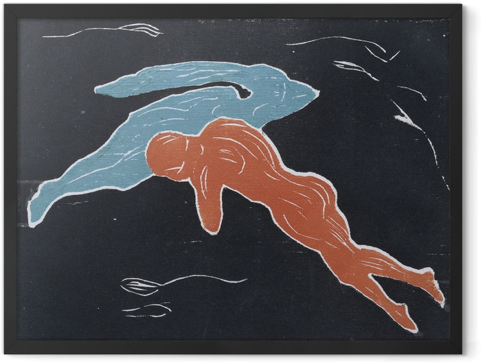 Plakat w ramie Edvard Munch - Spotkanie w kosmosie - Reprodukcje
