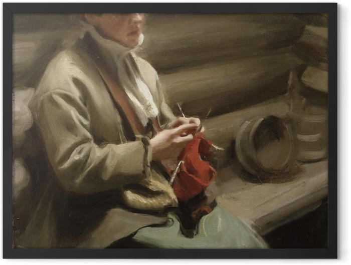 Gerahmtes Poster Anders Zorn - Ein strickendes Mädchen aus Dalarna - Reproductions