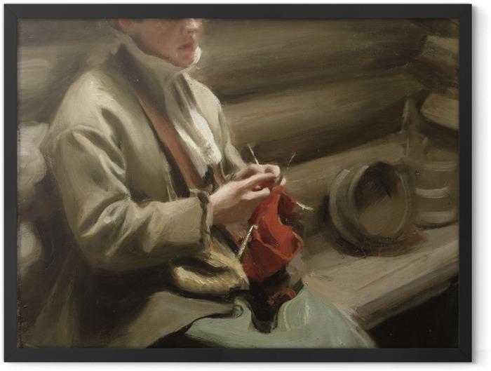 Plakat w ramie Anders Zorn - Dziewczyna z Dalarny robiąca na drutach - Reproductions