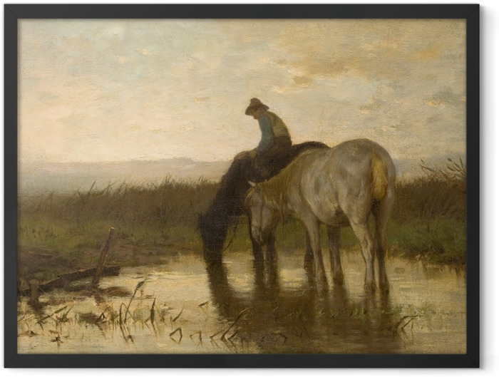 Gerahmtes Poster Anton Mauve - Pferde am Wasserloch - Reproductions