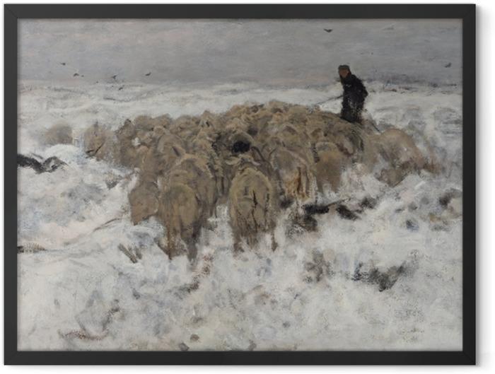 Gerahmtes Poster Anton Mauve - Eine Schafsherde mit einem Hirten im Schnee - Reproductions