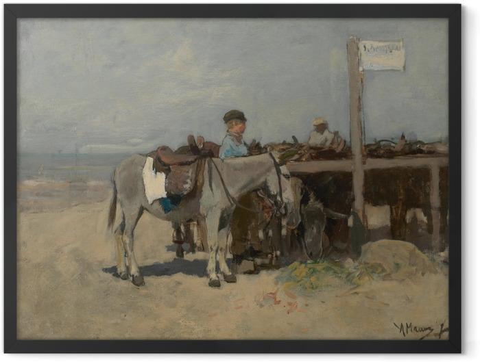 Plakat w ramie Anton Mauve - Stanowisko dla osłów na plaży w Scheveningen - Reproductions